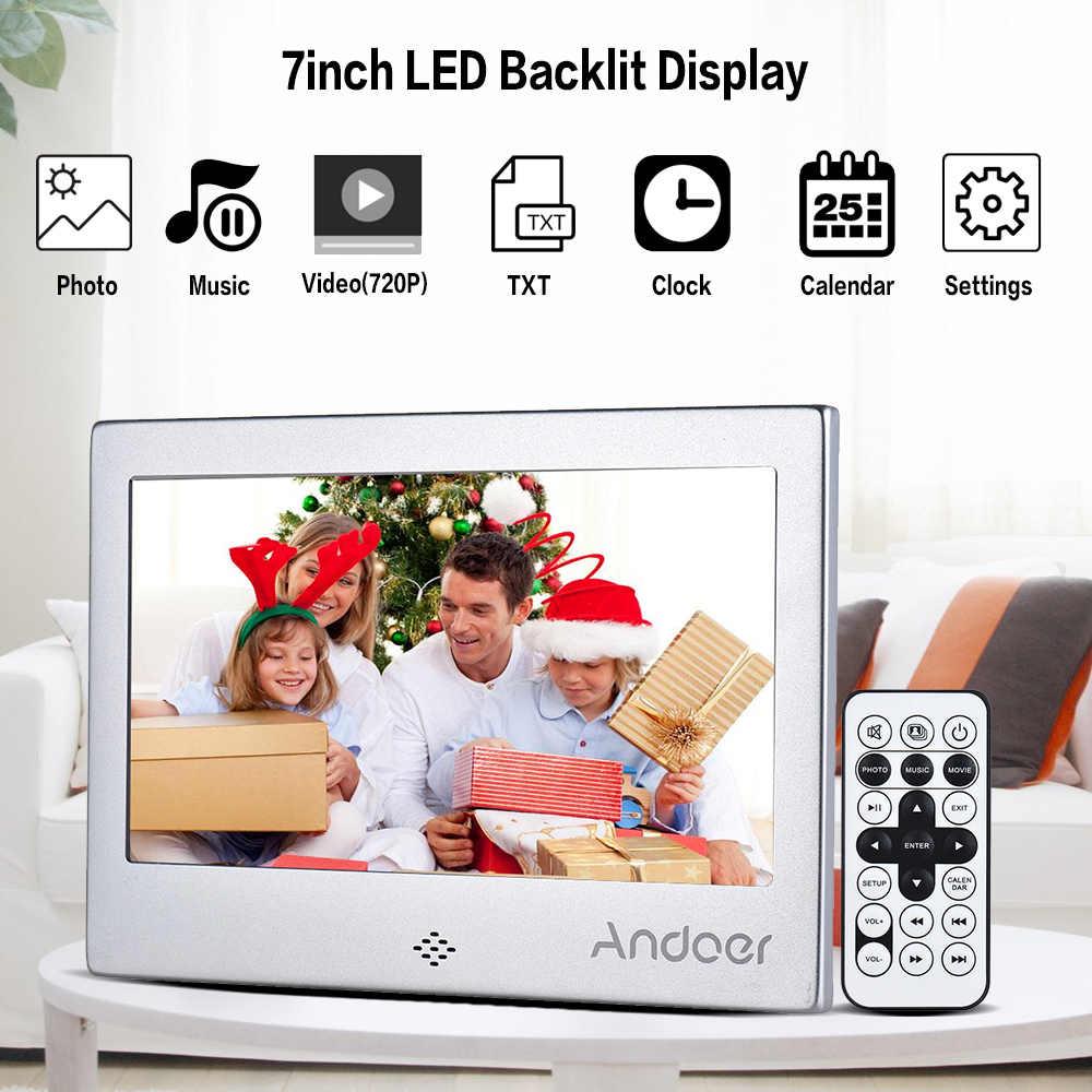 "Andoer 7"" LED Digital Photo Frame 720P Video/Music/Calendar/Clock/TXT Player 1024 * 600 Resolution Metal Frame w/ Remote Control"