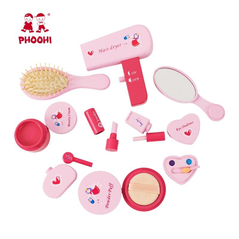 Meninas conjunto de maquiagem brinquedo de madeira cosméticos brinquedo do bebê fingir jogar simulação beleza moda brinquedo para crianças phoohi