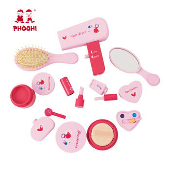Girls Makeup Set Toy Wooden Cosmetics Toy Baby Pretend Play Simulation Beauty Fashion Toy For Kids PHOOHI
