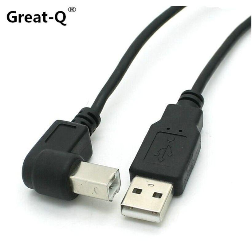 Grand-Q 5 pcs 1.5 m 5 Pieds Type A Mâle à B Mâle Down/Up/ gauche/Droite Coudé USB 2.0 Imprimante Scanner Câble cordon