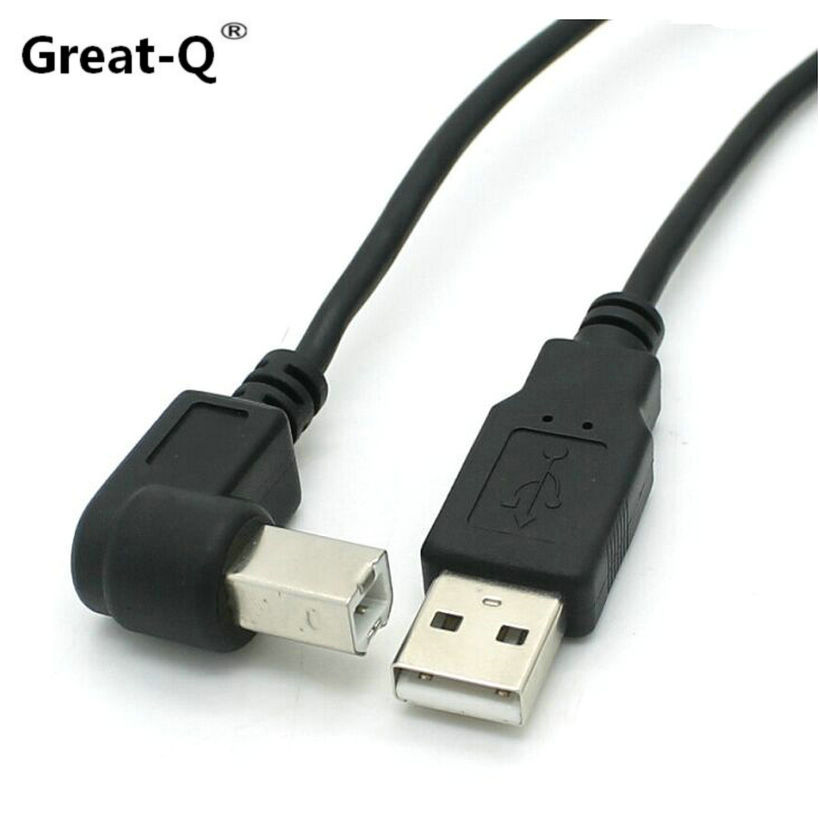 Great-Q  5pcs 1.5m 5 Feet Type A Male to Type B Male Down / Up / Left / Right  Angled USB 2.0 Printer Scanner Cable cord cy 5pcs 1 5m 5 feet type a male to type b male down up left right angled usb 2 0 printer scanner cable