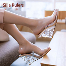 8103df17f4 Silla Rulers Transparent Lady Slingback Sandal Shoe Crystal Rivets Wedge Heel  Sexy Runway Peep Toe Clear Top Quality Sandalias
