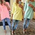 Mujeres de moda T-Shirt de algodón ocasional del Color del caramelo camisetas 3564
