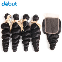 Debut Peruvian Hair 4 Bundles Loose Curl Natural Color 10 26 Inch Cuticle Aligned Hair Bundles With 4x4 Lace Free Part Closure