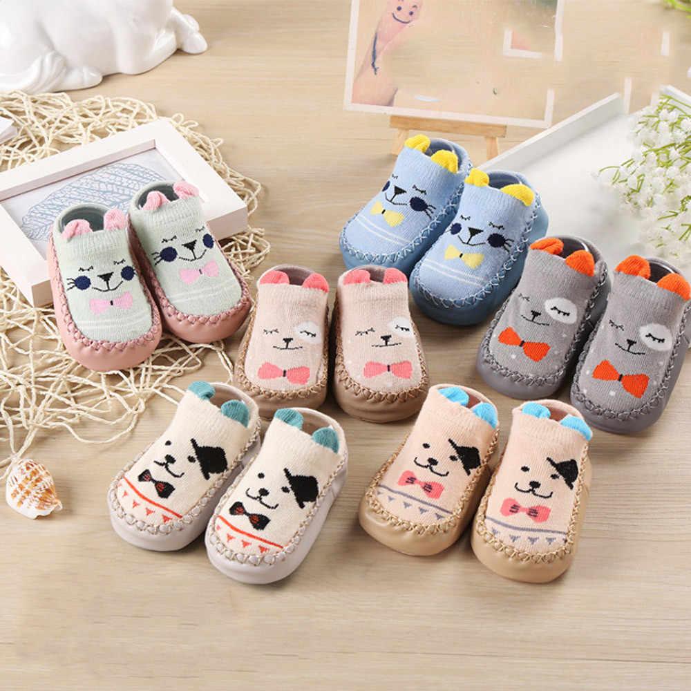 Детская обувь с резиновой подошвой для новорожденных девочек и мальчиков; сезон осень-зима; детские тапочки; modis; нескользящие носки с мягкой подошвой