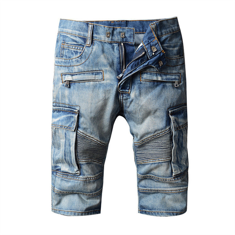Summer Fashion Men Short   Jeans   Brand Clothing Bermuda Casual Straight Cotton Shorts Denim Vintage Multi-pocket Mens   Jeans