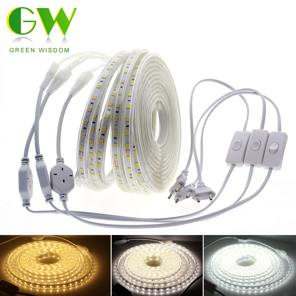 LED Strip AC220V 5050 Waterproof Flexible LED Light Tape 1M Wire With Switch High Safety LED Strips For Outdoor Decoration LampsLED Strip AC220V 5050 Waterproof Flexible LED Light Tape 1M Wire With Switch High Safety LED Strips For Outdoor Decoration Lamps