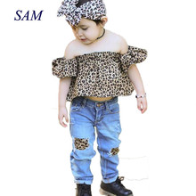 hot deal buy 2018 ins hot sale girls fashion clothing sets leopard raglan sleeve tops + hole jeans sets children'a cotton trend clothes