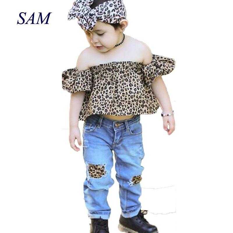 2018 ins hot sale meisjesmode kleding sets Leopard raglan mouw tops + - Kinderkleding - Foto 1