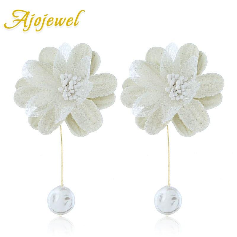 Ajojewel Women 39 s White Statement Earrings Fabric Flowers Chic Jewelry 2019 Drop Earrings For Party Wedding in Drop Earrings from Jewelry amp Accessories