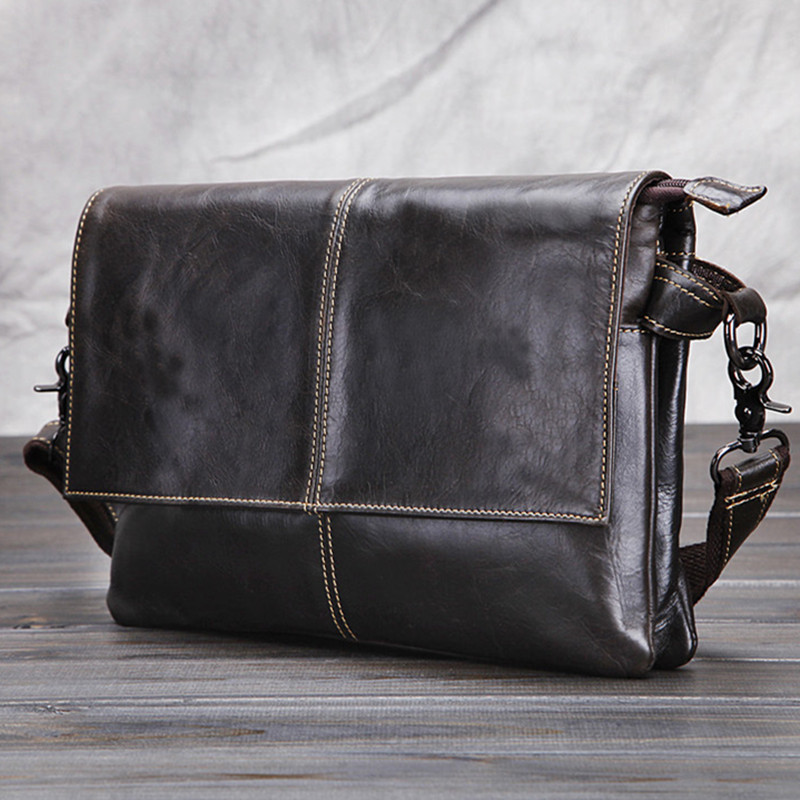 100% Genuine Cow Leather Mens Cross-body Bag/ Vintage Retro Mens Messenger Bag Casual Shoulder Bag Briefcase Laptop bags