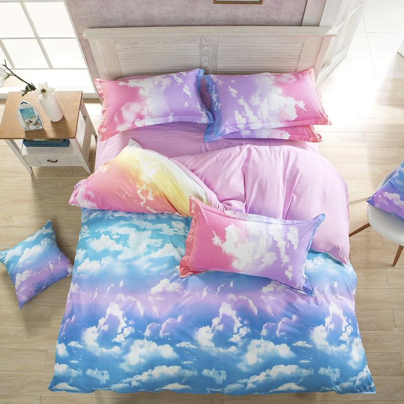 2017 New Bedding Set Reactive Printed Sky Clouds Duvet Cover Sets Cotton Flat Sheets Queen/Full/Twin Size Wholesale