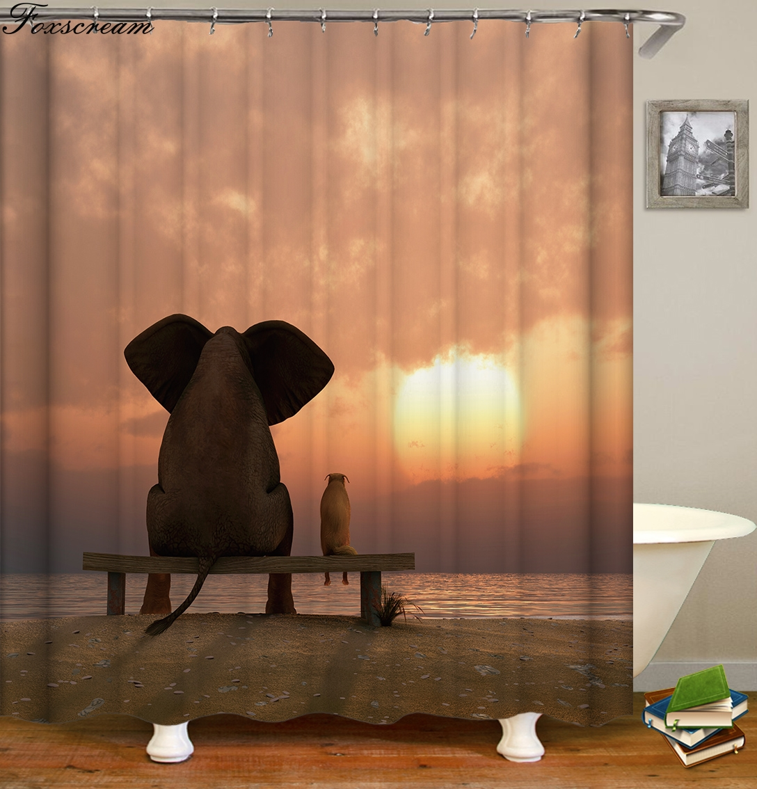 >New High Quality Elephant Printing Shower Curtain 3D Polyester Fabric <font><b>Waterproof</b></font> <font><b>Mildewproof</b></font> Bathroom Curtain or mat