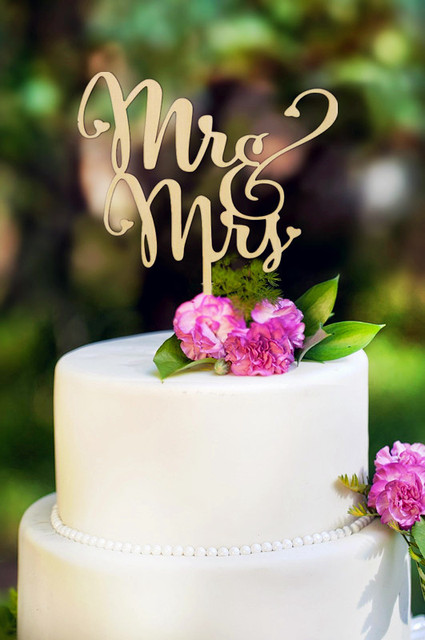 Mr And Mrs Antic Rustic Wedding Cake Topper Laser Cut Wood Letters