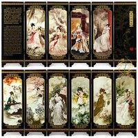 Мини Экран складной Экраны 6 присоединился к панели декоративные роспись по дереву бебу благородные красавицы рисунок shinvtu группы дворянки