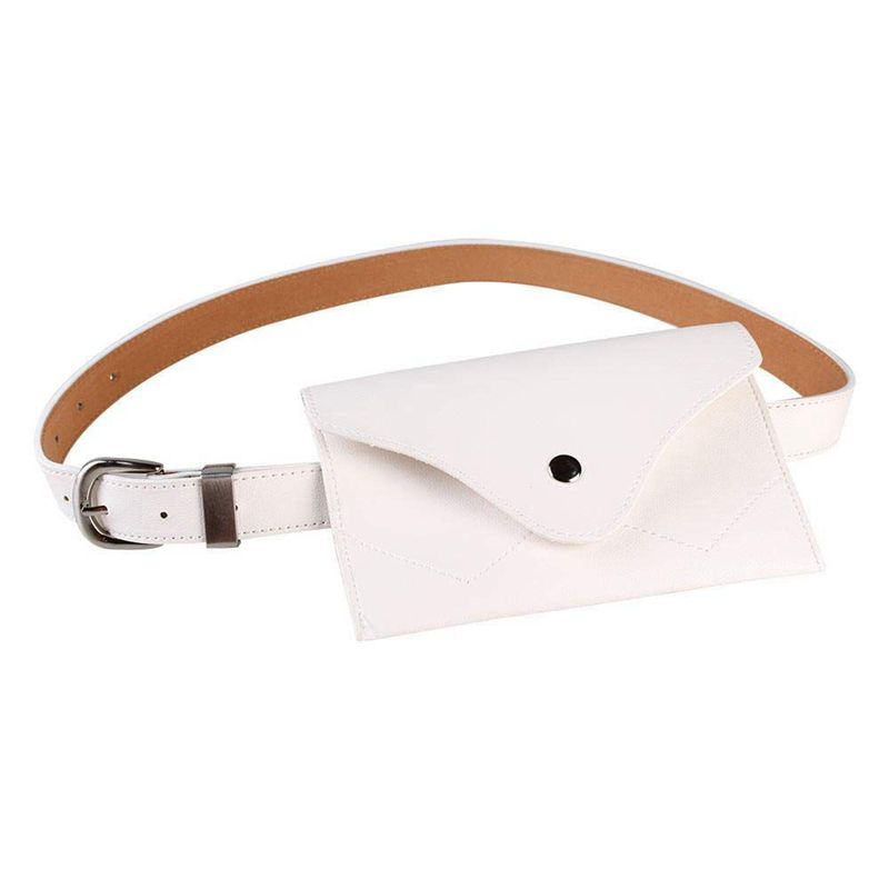 Women Fanny Pack, PU Leather Fanny Pack With Removable Belt Waist Pouch Fashion Girls Belt Bum Fanny Bag White