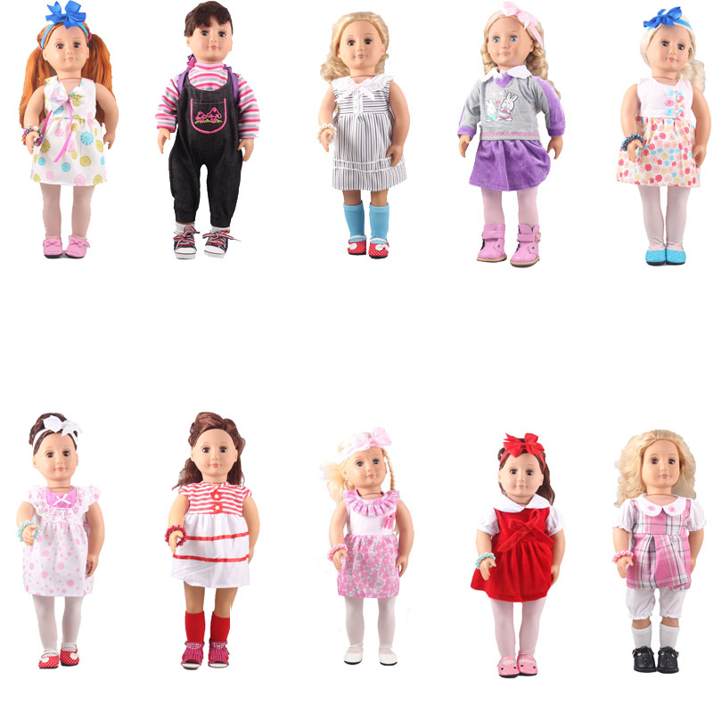 Tts A Girl 11 Kinds of 46cm Doll Clothes With All Accessories for 18 American Girl Doll Best Children Decoration Gift