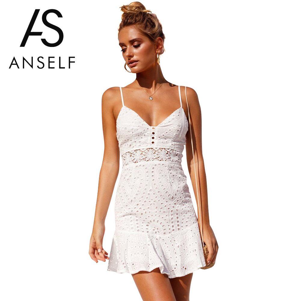 8a1ddef603488 AZULINA Women Dress Broderie Anglaise Lace Slip Dress Beach Summer ...