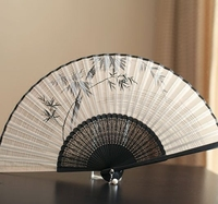 Exquisite High end Female Fan Chinese Style Bamboo Handle Silk Folding Fan Summer Daily Fan Photography Props