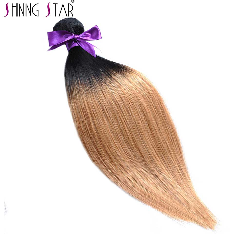 T1B/27 Ombre Brazilian Straight Hair Bundles Two Tone Honey Blond Hair Weave Shining Star Non Remy Hair No Shedding No Tangle