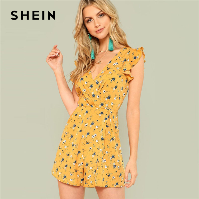 9bc5802bb92 SHEIN Ginger Ruffle Shoulder Calico Print Wrap Romper Women V neck  Sleeveless High Waist Playsuits 2018 Boho Wide Leg Romper
