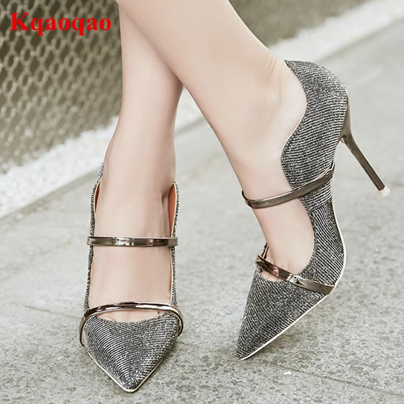 2018 New Arrival Pointed Toe Gold Silver Sequined Cloth Women Pumps Metal Band Decor High Thin Heel Stiletto Bling Zapatos Mujer new arrival awesome pink silk metal stiletto high heel shoes women fancy metal branch decoration thin heel pointy pumps hot sell