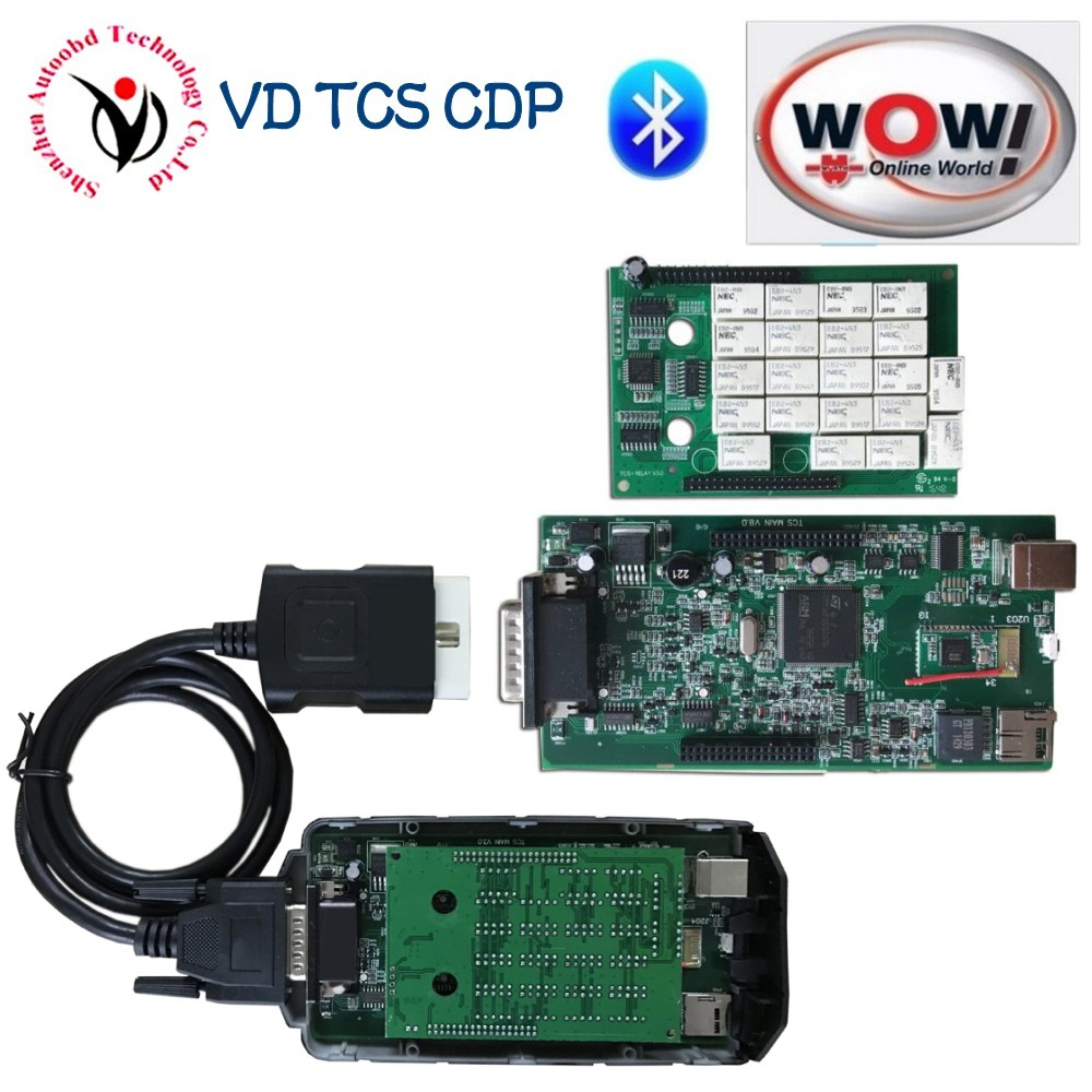 NEW Design A+ Real 5.008R2+5.00.12 Keygen WOW Snooper CDP Bluetooth With Full Body Cover VD TCS CDP Pro for OBD2 cars and trucks single green board multidiag pro 2014 r2 keygen