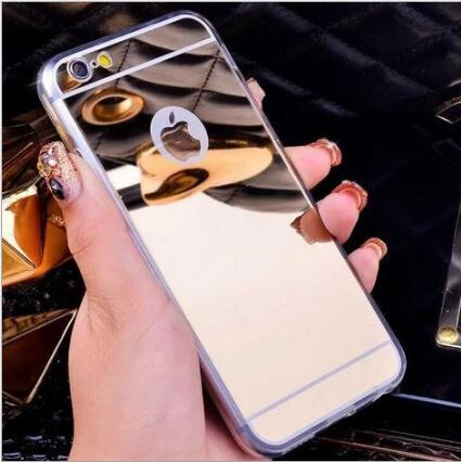 For Samsung Trendy Glossy Mirror Phone Case Soft TPU Back Cover For iPhoneX 8 6s 7plus f ...