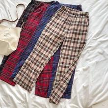 Summer Japanese Style Women Loose Pants Checked Elastic Waist Full Length Wide Leg Pants Female Red Leisure Pants Trousers