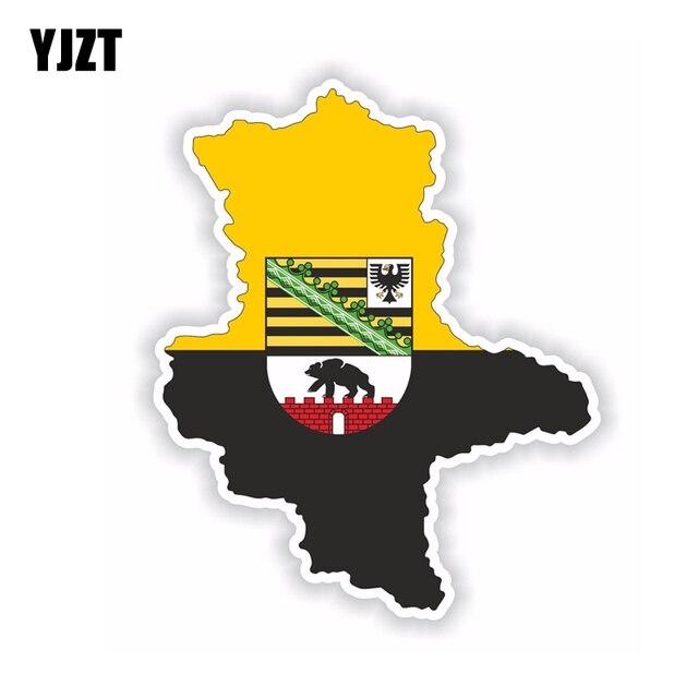 YJZT 12.2 CM * 14.9 CM drôle saxe Anhalt carte drapeau autocollant voiture créative autocollant 6-1778