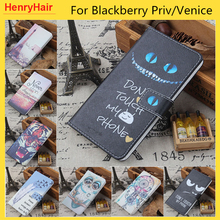 Hot! Cartoon Pattern PU Leather Cover Case Flip Card Holder Cover For Blackberry Priv/Venice Wallet Phone Cases