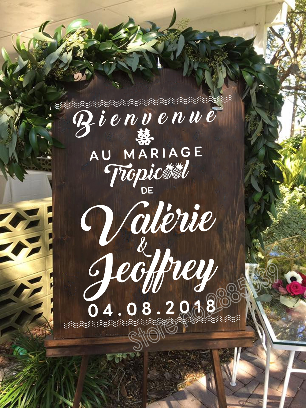 Bienvenue Wedding Sticker New Design French Welcome Sign Custom Name Decals Vinyl Wedding Decor Removable Waterproof Decal LC677