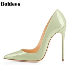 Discount Sheepskin Leather Thin High Heel Shoes Woman Stilettos Heeled Pointed Toe Slip On High Heels Designer Party Dress Shoes