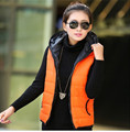 Female Vest 2016 Thickening Outerwear Hooded Fashion Casual Cotton Women Vest Jacket Motorcycle Vest