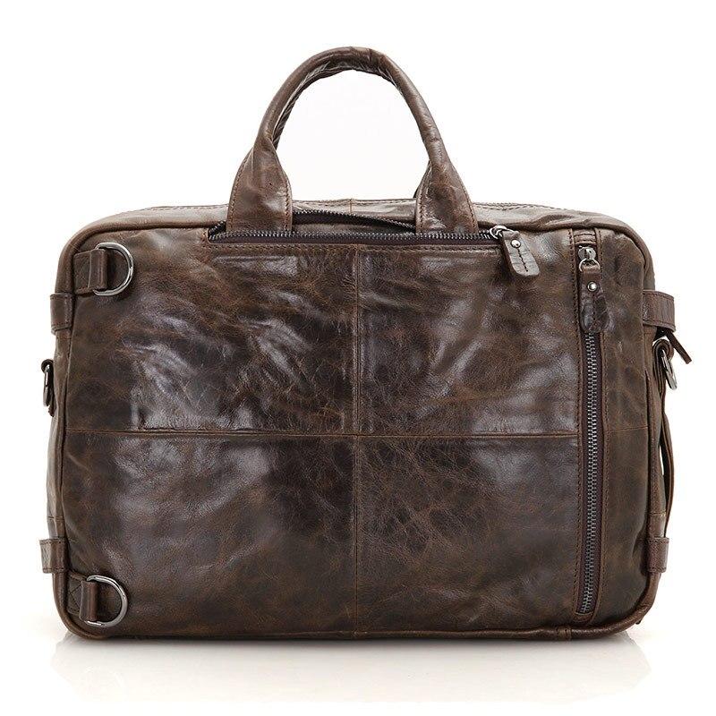 Pour hommes porte-documents fourre-tout en cuir véritable hommes Messenger sacs voyage pochette d'ordinateur d'affaires en cuir de vache sac à bandoulière portefeuille # J7014 - 3
