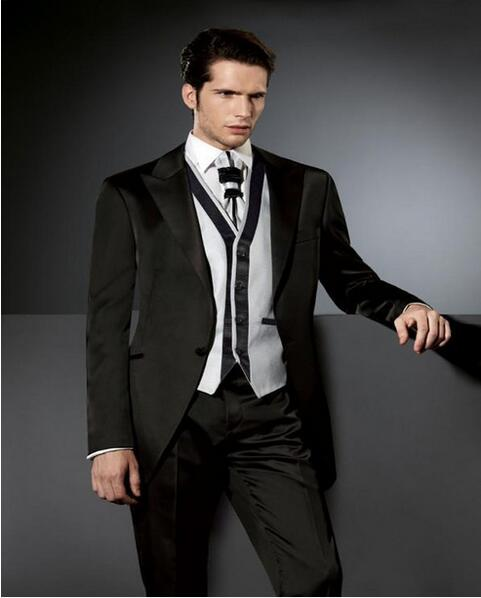 2016 offres spéciales noir hommes costumes avec mélange et Macth gilet élégant marié costumes de mariage costumes de bal formel (veste + pantalon + gilet + cravate)