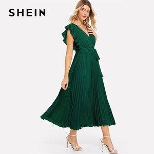 Image 2 - SHEIN Плиссированное Платье С Оборками И Поясом Женское Летнее Элегантное Платье С Высокой Талией И V Образным Вырезом