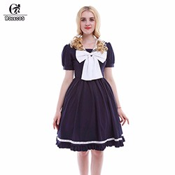 Bow-Lantern-Sleeve-Dress-Mori-Girl-Sweet-College-Party-Dress-Women-Casual-Clothing-Faldas-Vestido-Lolita