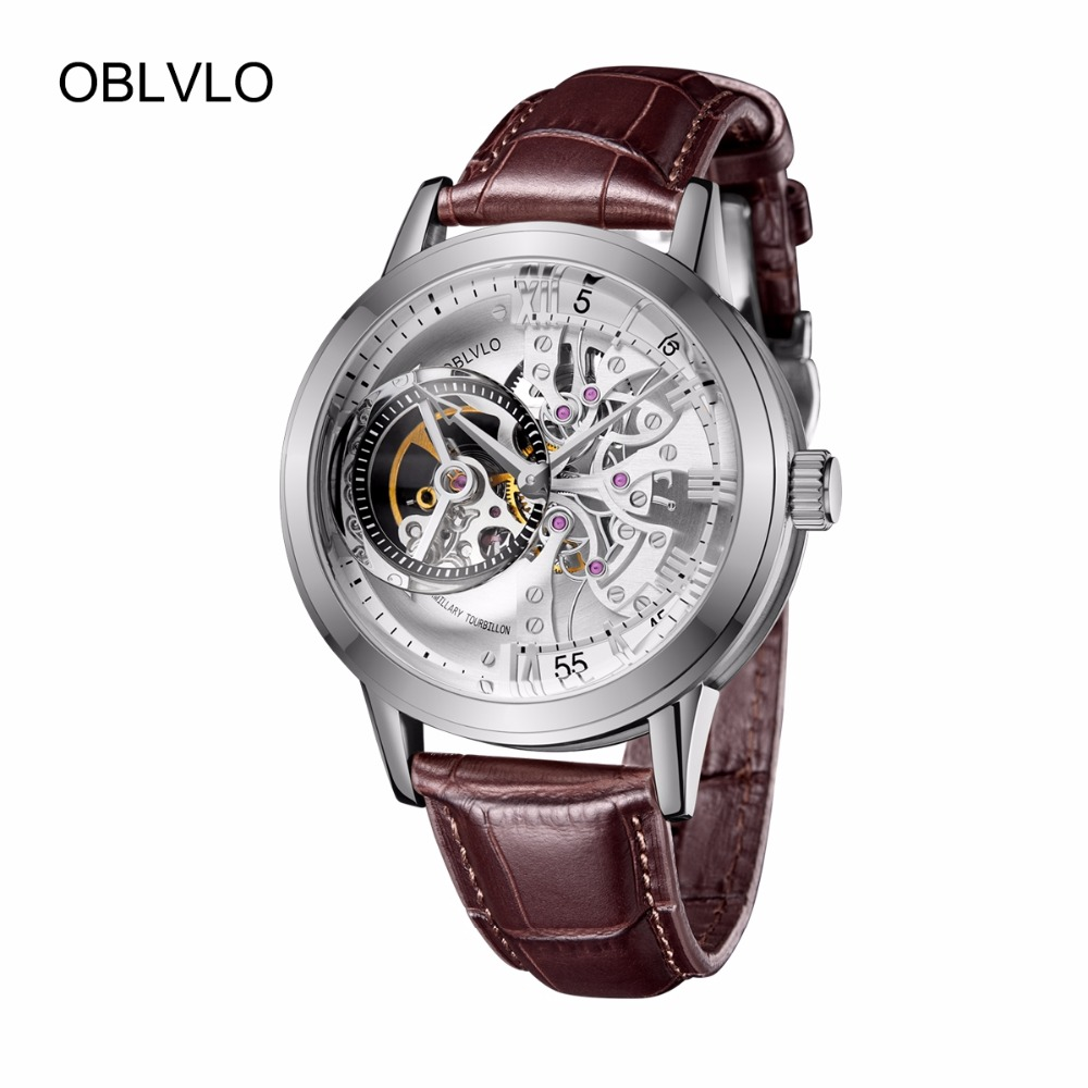 74efd90b8 2018 New OBLVLO Brand Fashion Watches Skeleton Automatic Watches Steel  Genuine Leather Strap Mens Wrist Watches OBL8238