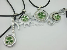 FREE SHIPPING 12 PCS Lucky green four leaf clover classical music sun round design fine pendant