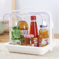 Transparent Condiment Rack Dustproof Box Double Lids Kitchen Grocery Boxes with Handle Storage Food Medicine Cosmetic Organizer