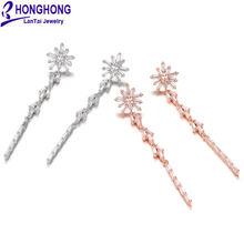 Женские серьги honghong длинные геометрические капельки с фианитом