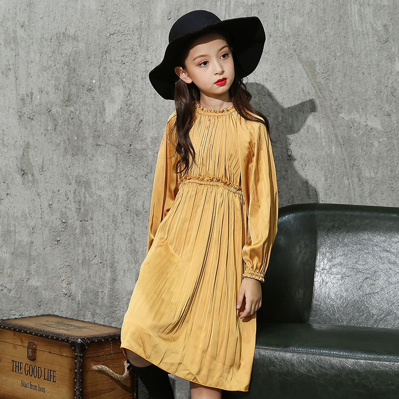Baby Girls Ruffles Vintage Autumn Party Dress Candy Red and Yellow Color Sweet Children Princess Holiday Dresses uoipae party dress girls 2018 autumn