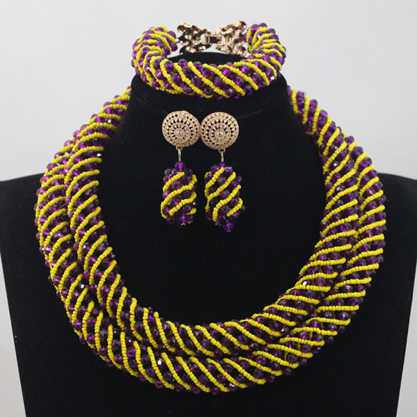 Fashion African Jewelry Sets Purple/Yellow Bridal Beads Crystal Rope Chain Necklace Earrings Set Handmade Free ShippingABH141Fashion African Jewelry Sets Purple/Yellow Bridal Beads Crystal Rope Chain Necklace Earrings Set Handmade Free ShippingABH141