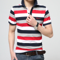 Pure cotton summer of 2017new mens fashion boutique stripe embroidery lapel leisure short sleeve POLO shirts / Male POLO shirts