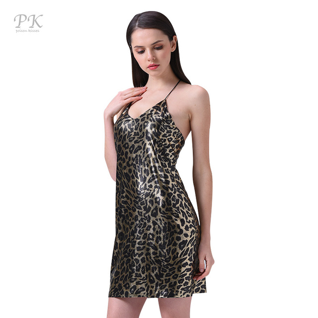 PK Leopard print short dress women deep V neck halter Sexy night party dress  Backless vintage mini dress 2018 summer vestidos 554cd5368b
