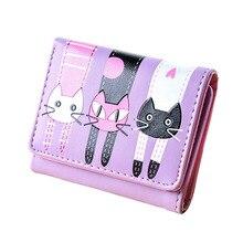 Купить с кэшбэком Cute Kitten Wallet Female 6 Color Soft Leather Purse Fashion Cartoon Women Wallets Fresh Coin Purse Coin Bag ID Card Holder