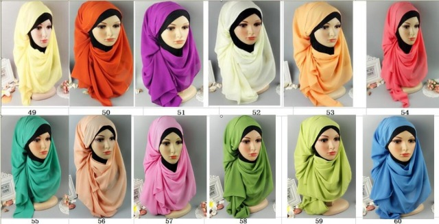 H7 20pcs 61colors s Top quality plain bubble chiffon wrap shawl women scarf 180*75cm can choose colors