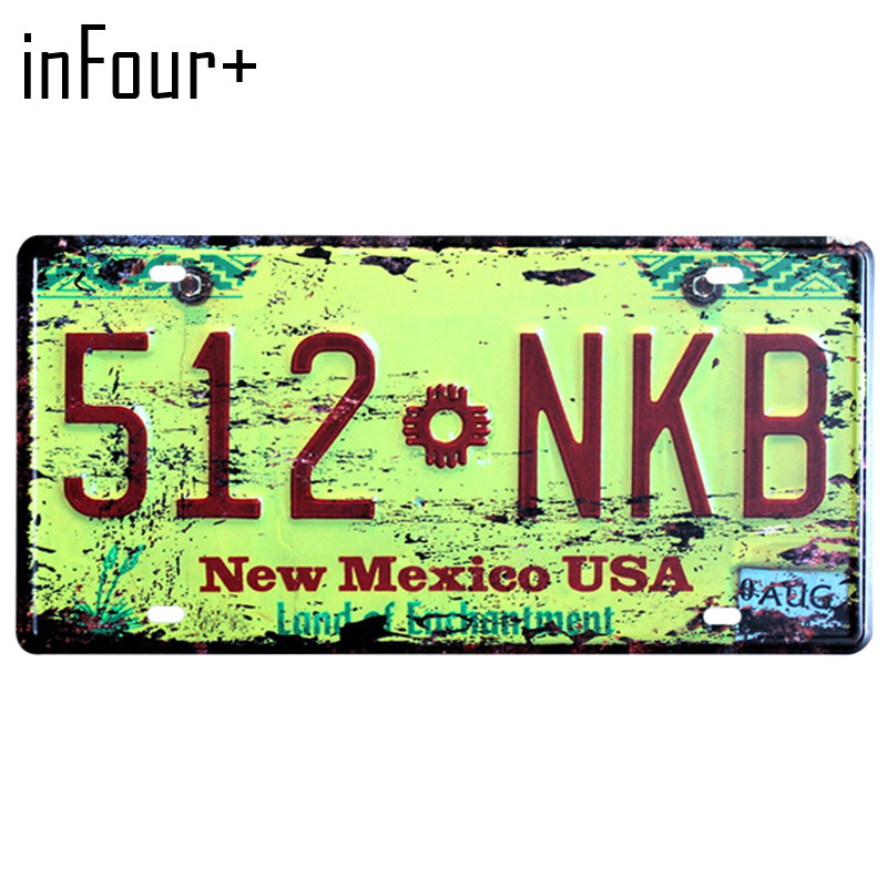 [inFour+] 512.NKB License Plate Metal Plate Car Number Tin Sign Bar Pub Cafe Home Decor Metal Sign Garage Painting Plaques Signs