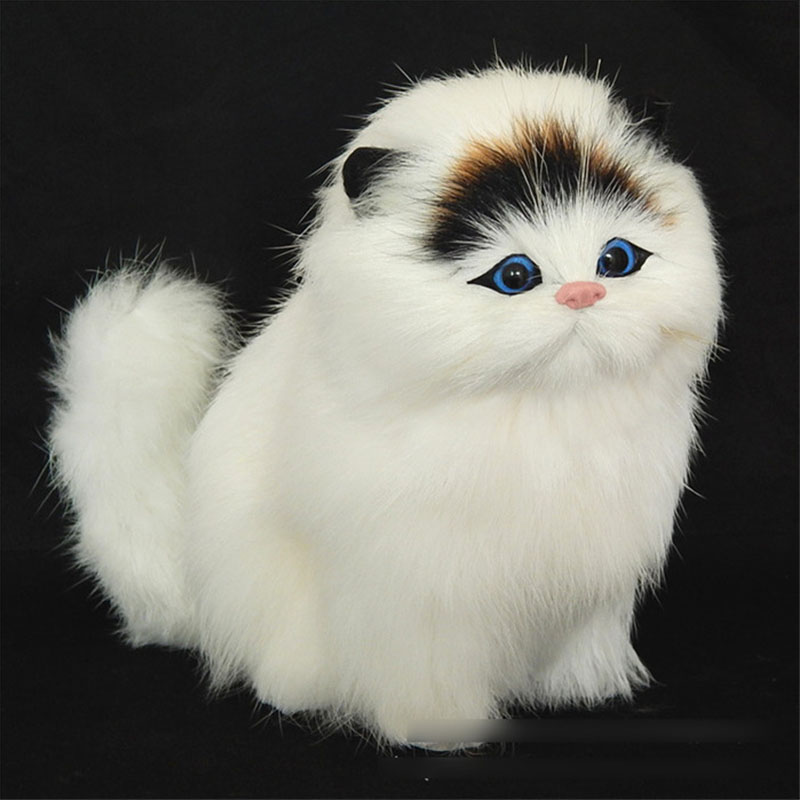 Big Lovely Simulation stuffed plush cats toys soft sounding 2016 New Electric Simulation cute plush cat doll toys for kids girls large 24x24 cm simulation white cat with yellow head cat model lifelike big head squatting cat model decoration t187
